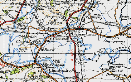 Old map of Llanymynech in 1947