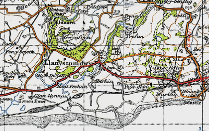 Old map of Llanystumdwy in 1947