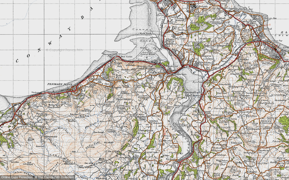 Old Map of Historic Map covering Afon Gyffin in 1947