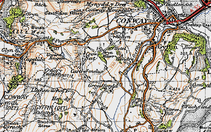 Old map of Afon Gyffin in 1947