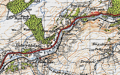 Old map of Lledr Valley in 1947