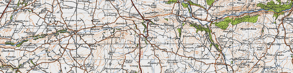 Old map of Lledrod in 1947