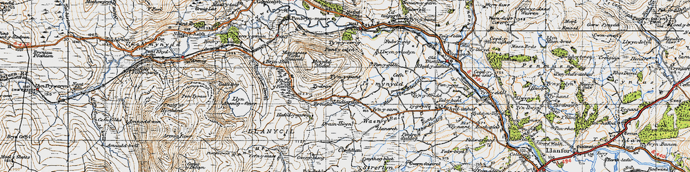 Old map of Y Castell in 1947