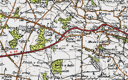 Old map of Lloc in 1947