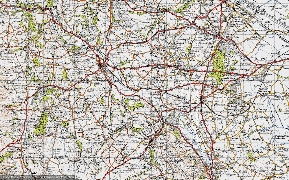 Old Map of Historic Map covering Leeswood Old Hall in 1947