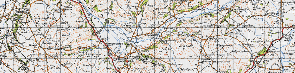 Old map of Abermeurig in 1947