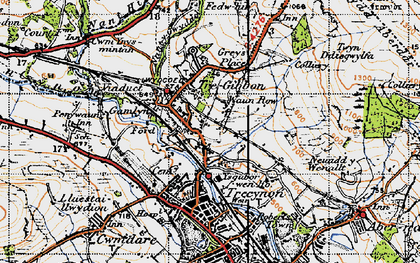 Old map of Llwydcoed in 1947