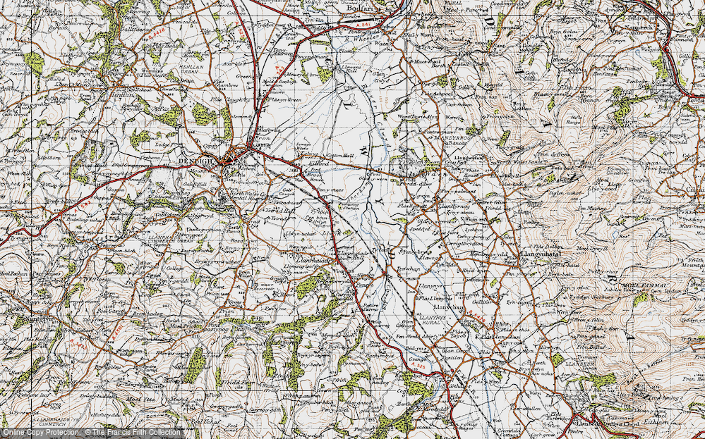 Old Map of Historic Map covering Aberham in 1947