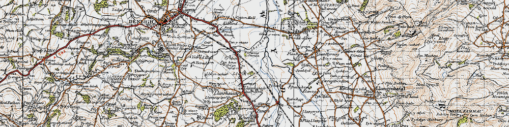 Old map of Aberham in 1947