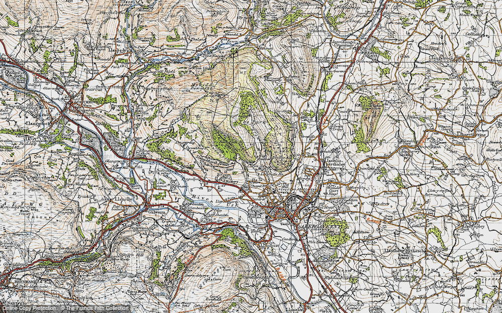 Old Map of Historic Map covering Allt in 1947