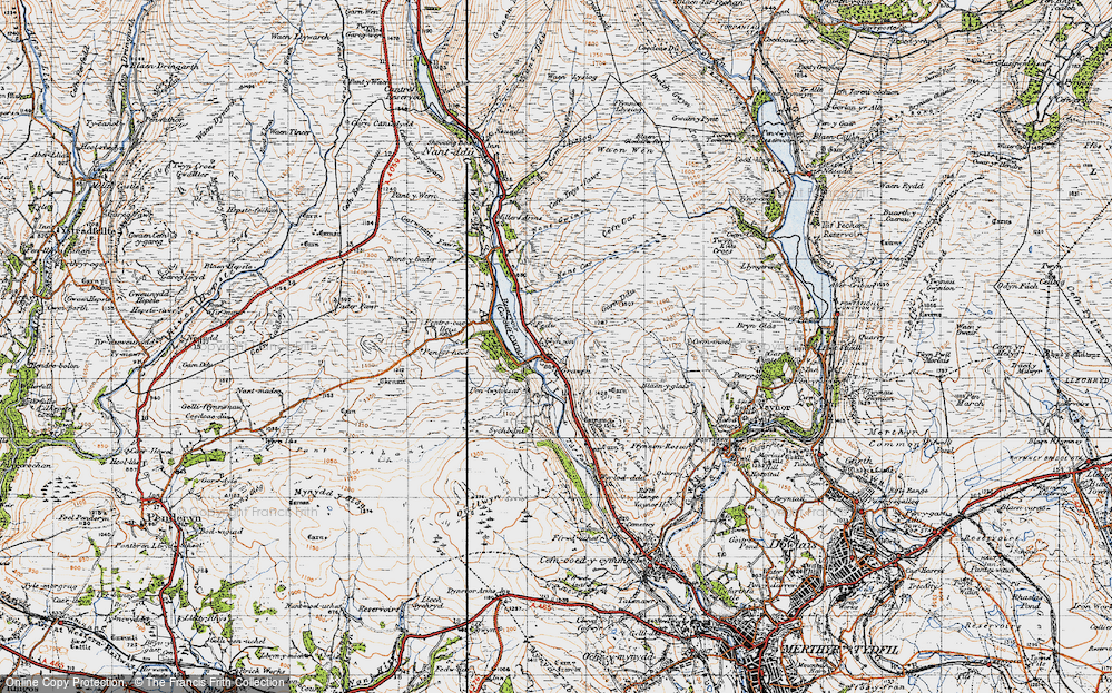 Old Map of Historic Map covering Afon Taf Fawr in 1947