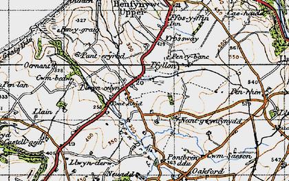 Old map of Afon Drywi in 1947