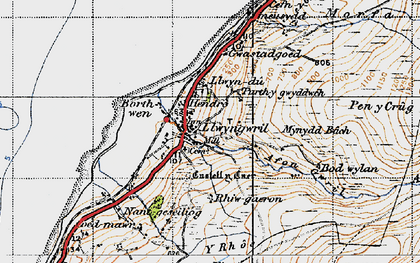 Old map of Llwyngwril in 1947