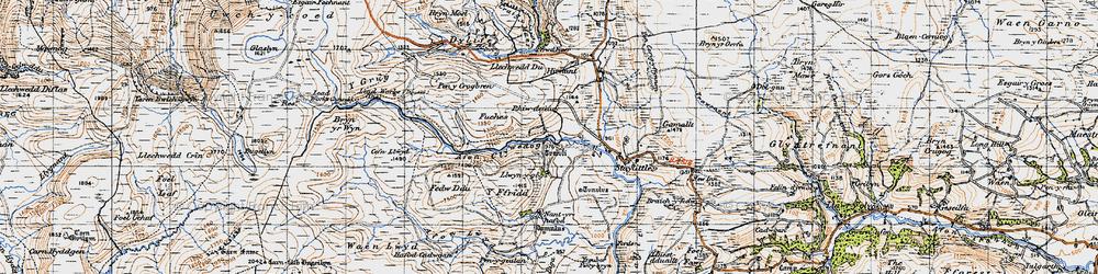 Old map of Afon Llwyd in 1947