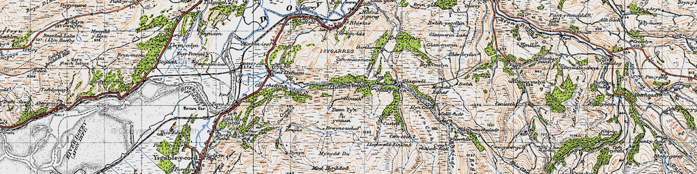 Old map of Llyfnant Valley in 1947