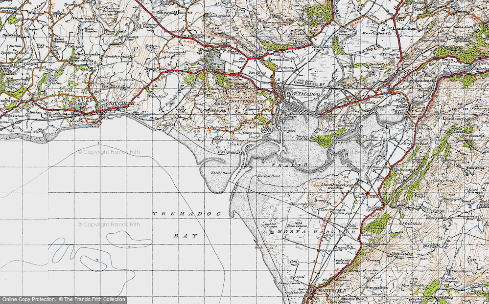 Old Map of Historic Map covering Ynys Cyngar in 1947