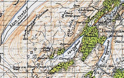 Old map of Llyn Crafnant in 1947