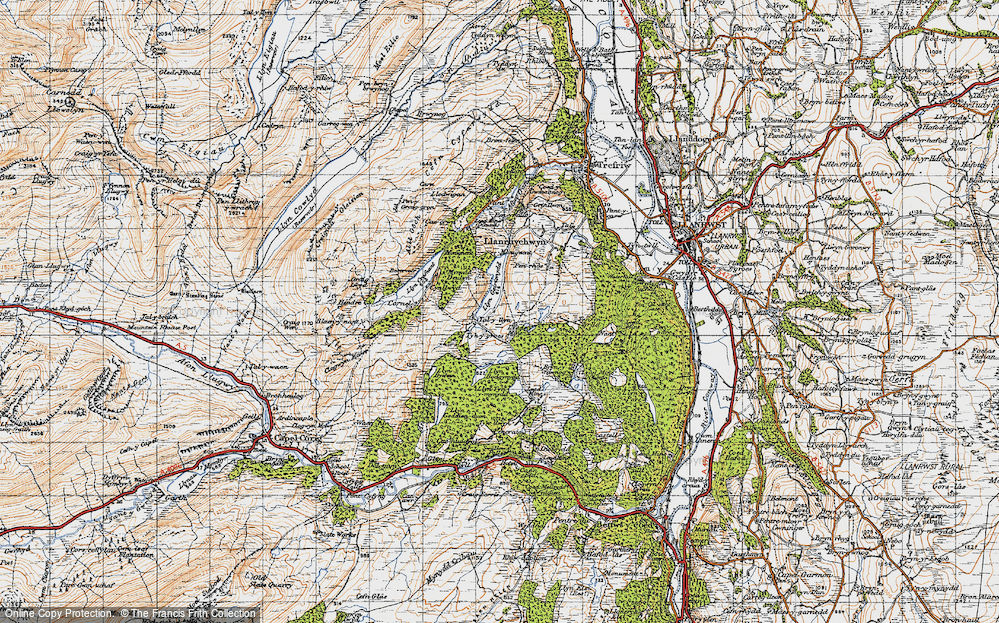 Old Map of Historic Map covering Afon Crafnant in 1947