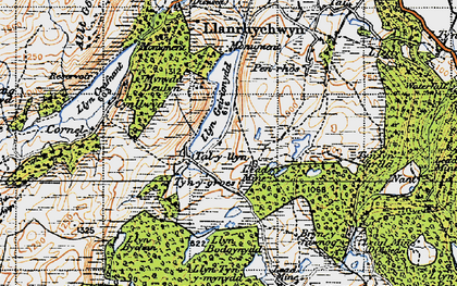 Old map of Afon Crafnant in 1947