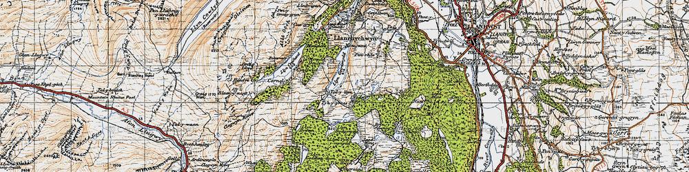 Old map of Afon Crafnant in 1947