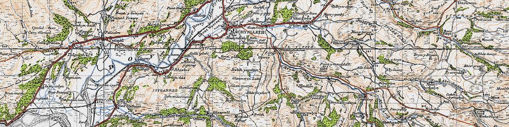 Old map of Llyn Glanmerin in 1947