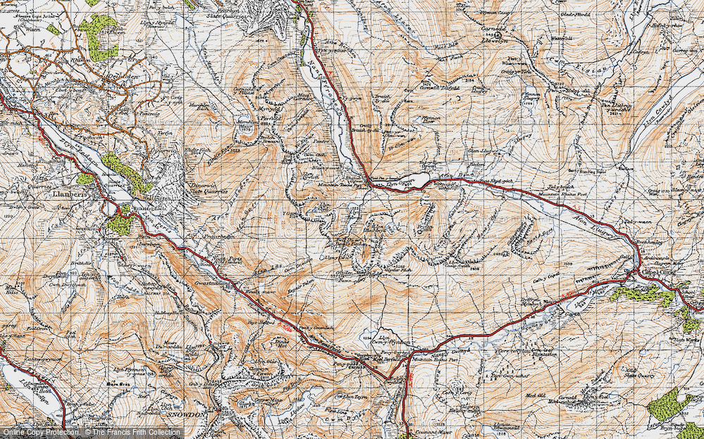 Old Map of Historic Map covering Afon Lloer in 1947
