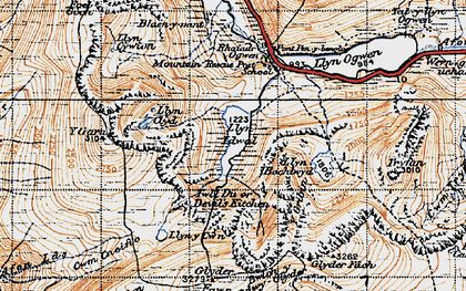 Old map of Afon Lloer in 1947