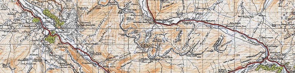Old map of Afon Lloer in 1947