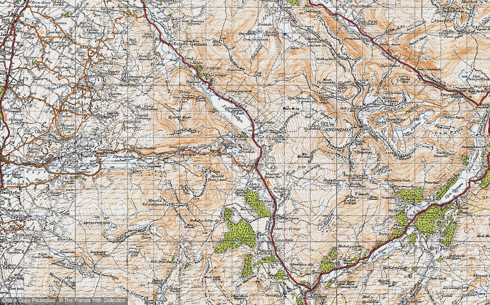 Old Map of Historic Map covering Afon Treweunydd in 1947