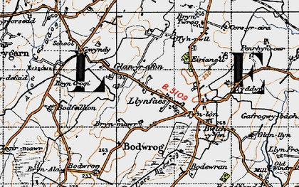 Old map of Afon Caradog in 1947