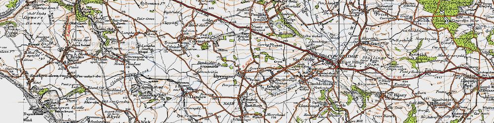 Old map of Llysworney in 1947