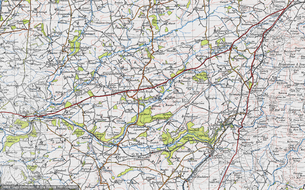 Old Map of Historic Map covering Lew Mill in 1946
