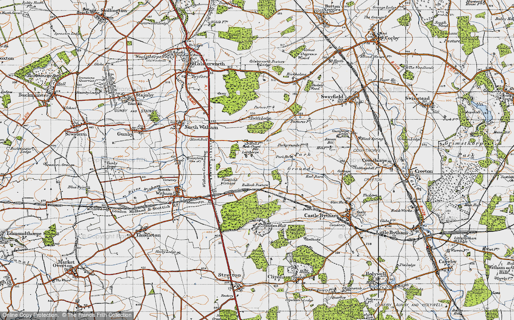 Old Map of Historic Map covering Todd's Lodge in 1946