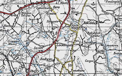 Old map of Lockengate in 1946