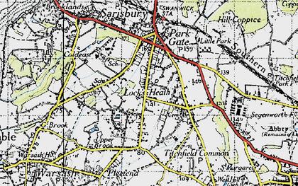 Old map of Locks Heath in 1945