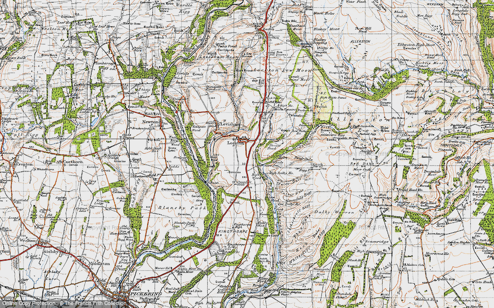 Old Map of Historic Map covering Adderstone Rigg in 1947
