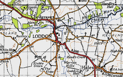 Old map of Loddon in 1946