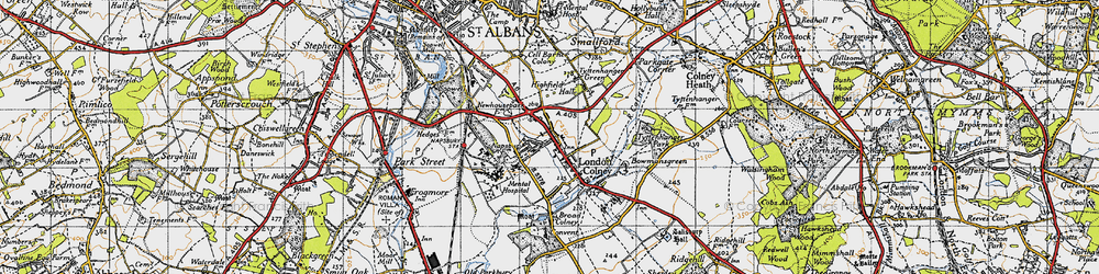 Old map of London Colney in 1946