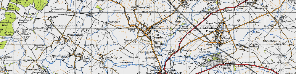 Old map of Long Crendon in 1946