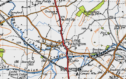 Old map of Long Itchington in 1946