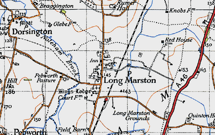 Old map of Willicote Pastures in 1946