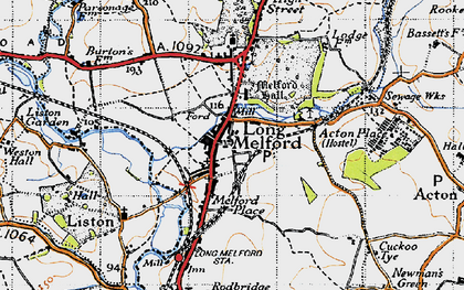Old map of Long Melford in 1946