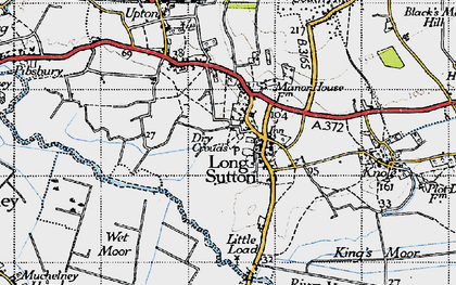Old map of Long Sutton in 1945