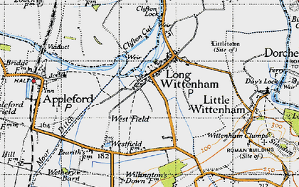Old map of Long Wittenham in 1947