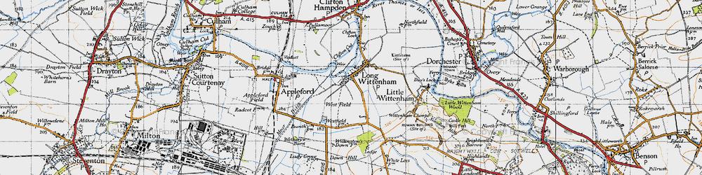 Old map of Long Wittenham in 1947