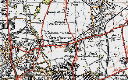 Old map of Longbenton in 1947