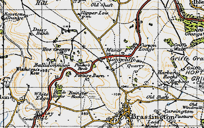 Old map of Ballidonmoor in 1947