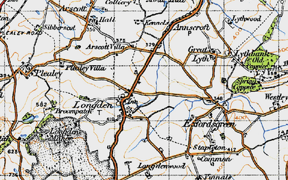 Old map of Arscott Villa in 1947