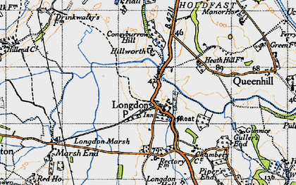 Old map of Longdon in 1947