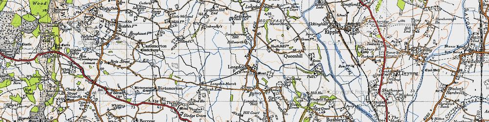 Old map of Longdon in 1947